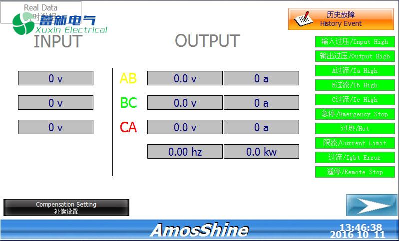 稳频稳压电源380V实时数据显示界面